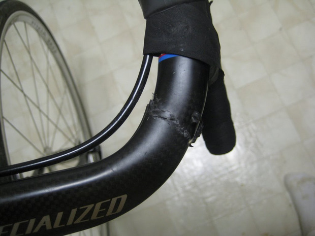cracked carbon Specialized handlebars